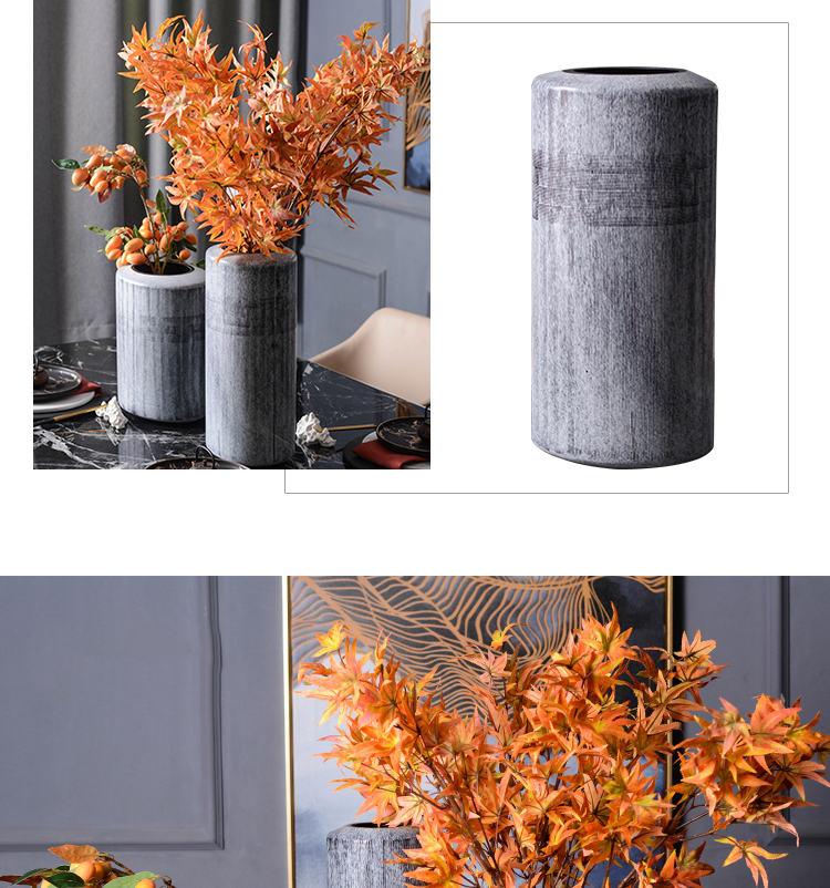 European Style Retro Gray Pottery Ceramic Vase For Home Living Room Hotel Dining Table Hand Polished Floral Decoration Ornaments