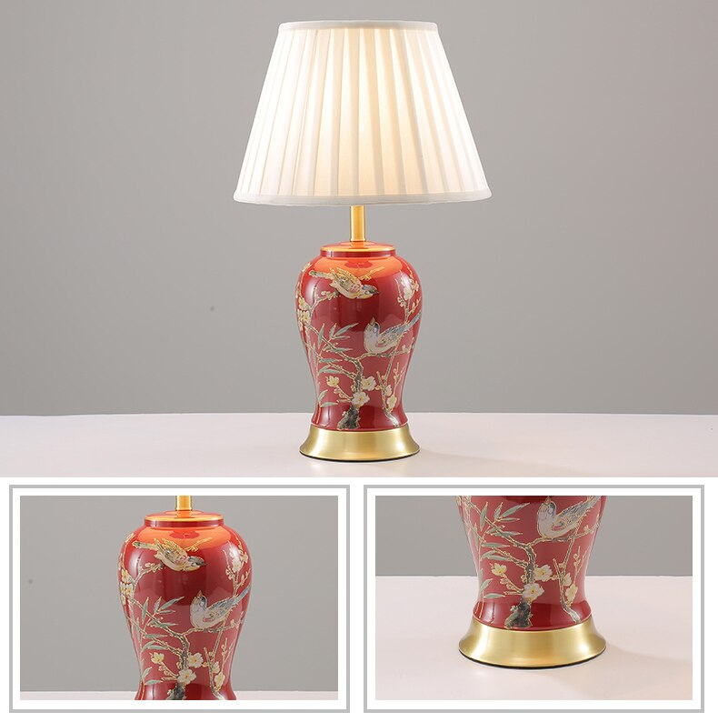 Magpie Pattern Ceramic Table Lamp Classical Home Bedroom Living Room Bedroom Decoration Wedding Romantic Warm Bedside Lamp
