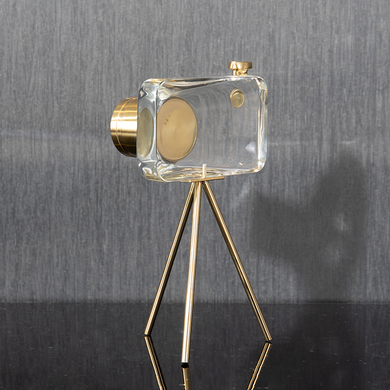 Modern Crystal Camera Ornaments With Gold Metal Stand Home Crafts Living Room Decor Objects Office Desktop Accessories Gifts