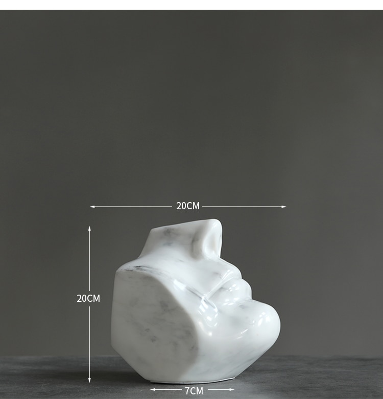 Modern Marble Texture Half Face Statue Home Crafts Room Decor Objects Office White Resin Sculpture Decor Accessories Gift