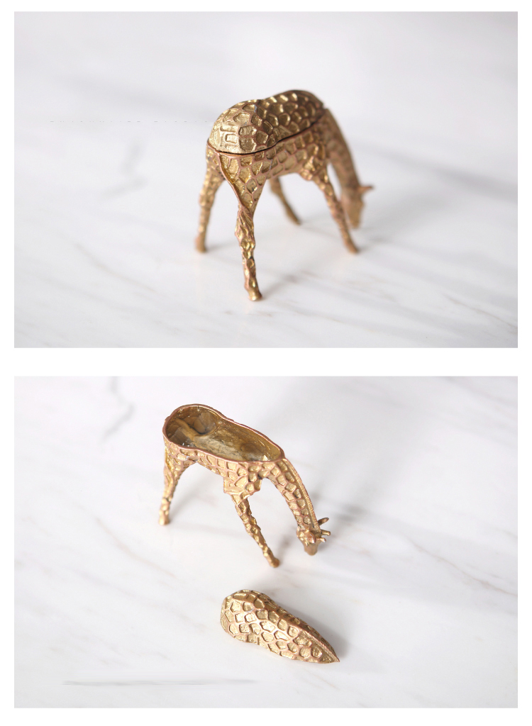 Modern Gold Giraffe Figurines Desktop Decorations Nordic Bedroom Living Room Small Ornaments Ring Earrings Necklace Jewelry Box