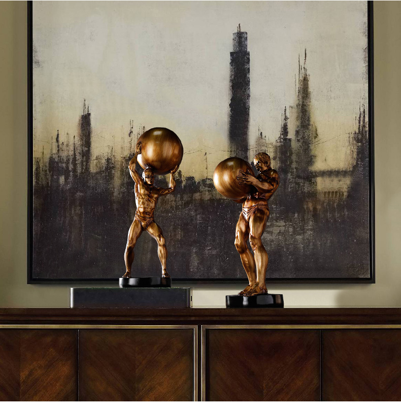 Modern Creative Hercules Man Holding A Ball Statue Home Crafts Room Decor Objects Office Resin Strong Athletic Figure Sculpture