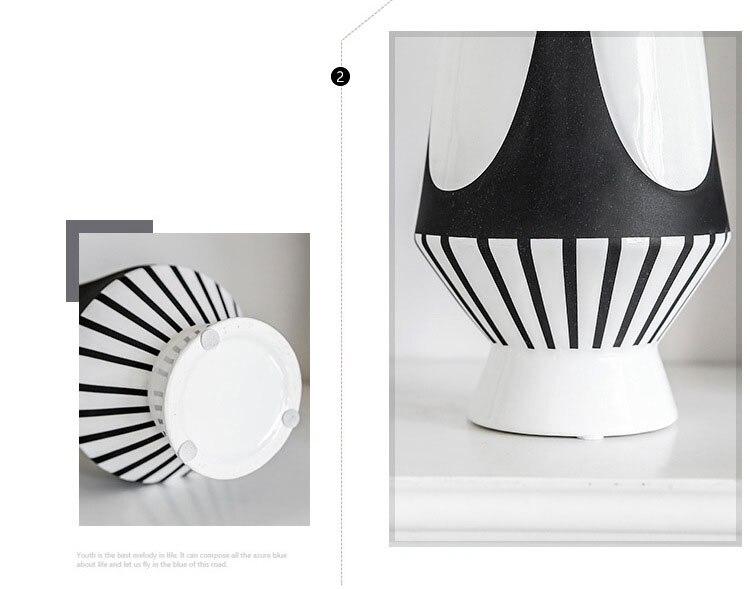 Geometric Symmetrical Black White Lines Ceramic Vase Modern Dining Table Countertop Flower Basin Wedding Decor Accessories Gifts