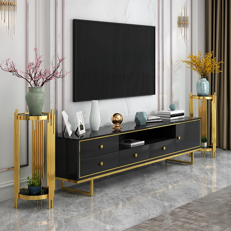 Luxury Modern Home Living Room Hotel Office Floor Decoration Frame Cabinet Gold Shelf Nordic Sofa Marble Flower Stand Ornament