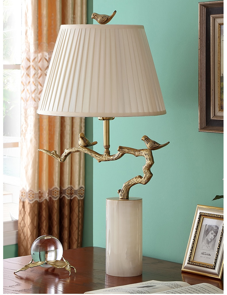 Home Decor Accessories Copper Table Lamp Pair Of Birds Stand On A Branch Statue Cylindrical Marble Lamp For Bedside Living Room