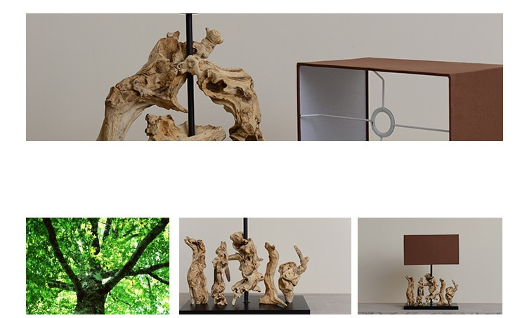 Back To Nature Table Lamp Natural Tree Roots Living Room Home Decor Lamps Table Fabric Bedroom Nightstand Lamp Luminaire