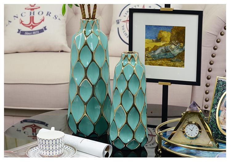 Creative Golden Lines Grid Ceramic Vase Decorative Crafts Flower Vases Hydroponic Dried Flowers Flowerpot For Home Wedding Decor