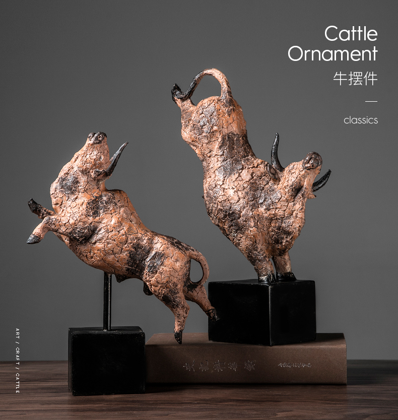 Running Wild Bos Grunniens Crafts Resin Statue Home Decor Art Bullfight Sculpture Home Living Room Decoration Accessories Gifts