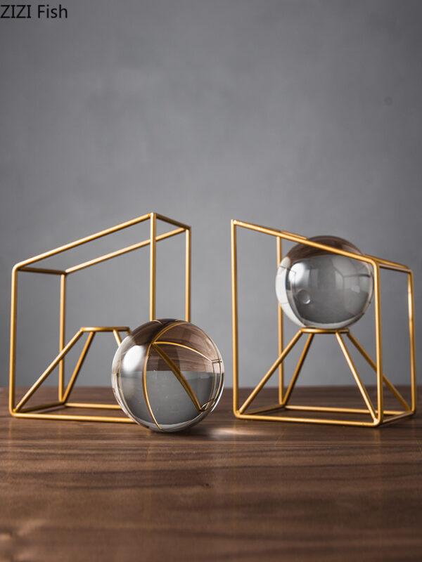 Creative Nordic expensive metal Crystal ball bookshelf Storage Decorative ornaments Crafts Modern home decoration figurines اكسسوارات منزلية