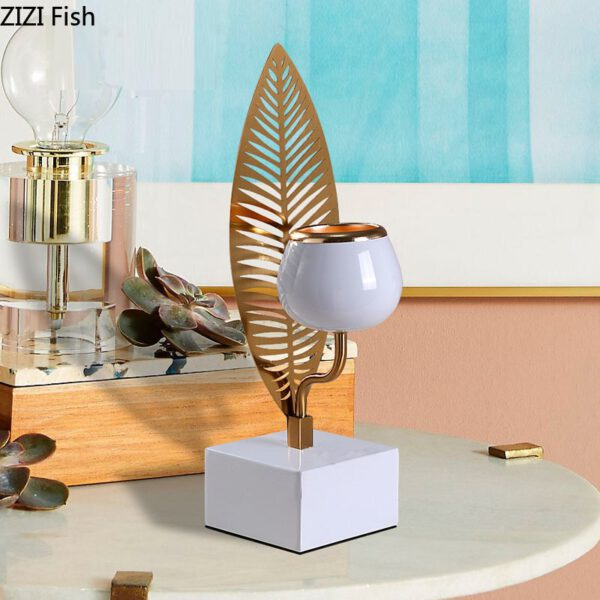 Gold Candle Holders Metal Wedding Candlestick Decoration Leaf Branches Festival Party Candle Stand Light Holder European Rustic اكسسوارات منزلية