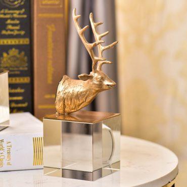 تمثال الظبي الذهبي الكريستالي اكسسوار و ديكور المنزل اكسسوارات منزلية