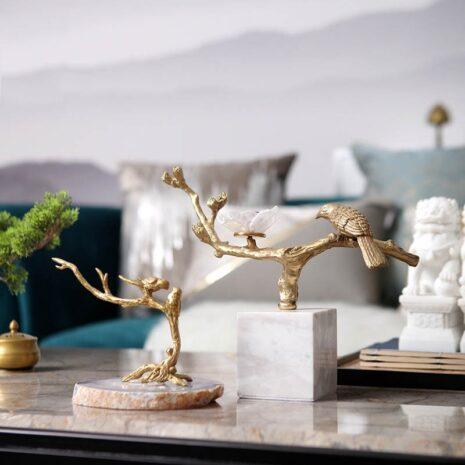 تمثال العصافير الذهبية على فرع النحاس اكسسوارات منزلية