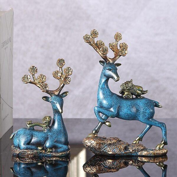 تمثال الغزلان مع الزهور الازرق ديكور و اكسسوارات