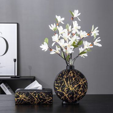 Nordic Ceramic Vase Marble Texture Black Gold Pattern Round Vases Artificial Flowers Floral Flower Arrangement Home Decor Modern اكسسوارات منزلية