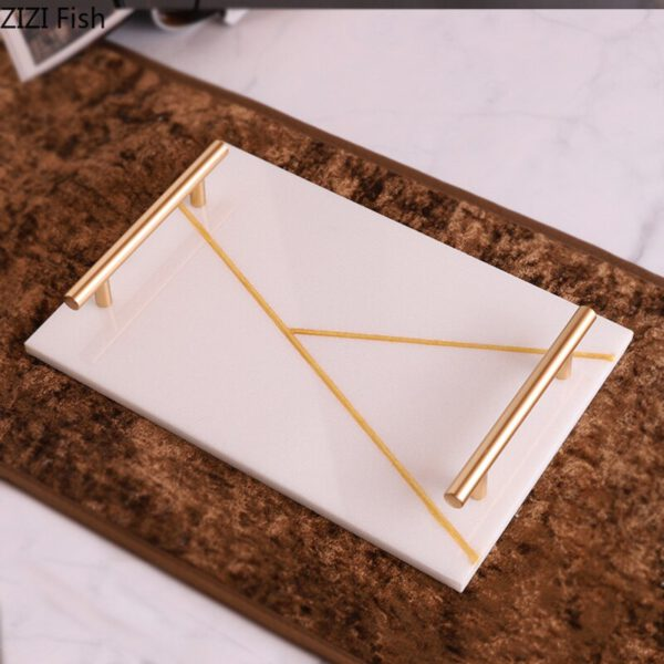 Nordic Natural Marble Tray Jewelry Ornaments Alloy Household Storage Decorative Display Plate West Point Jewelry Plate اكسسوارات منزلية