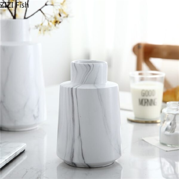 Nordic White Marble Pattern Simulation Dry Vase Ceramic Flower Inserter Modern Minimalist Decoration Table Decoration اكسسوارات منزلية
