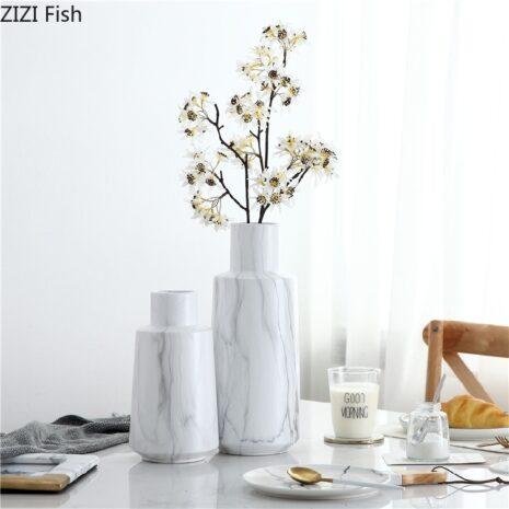 Nordic White Marble Pattern Simulation Dry Vase Ceramic Flower Inserter Modern Minimalist Decoration Table Decoration اكسسوارات منزلية