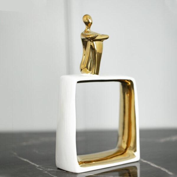 شخصية تمثال الحلي السيراميك الذهبي اكسسوارات منزلية