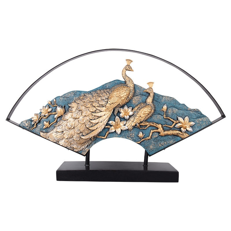New Chinese Wrought Iron Fan Resin Peacock Desktop Ornaments Home Livingroom Table Furnishing Crafts Office Figurines Decoration