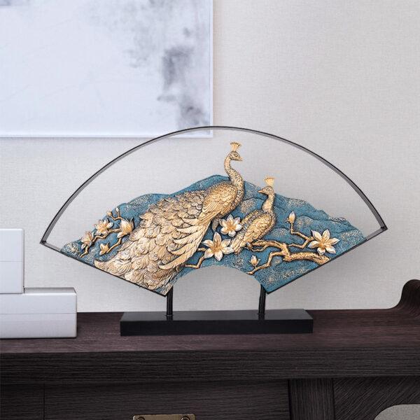 تمثال مروحة الطاووس الملون اكسسوارات منزلية