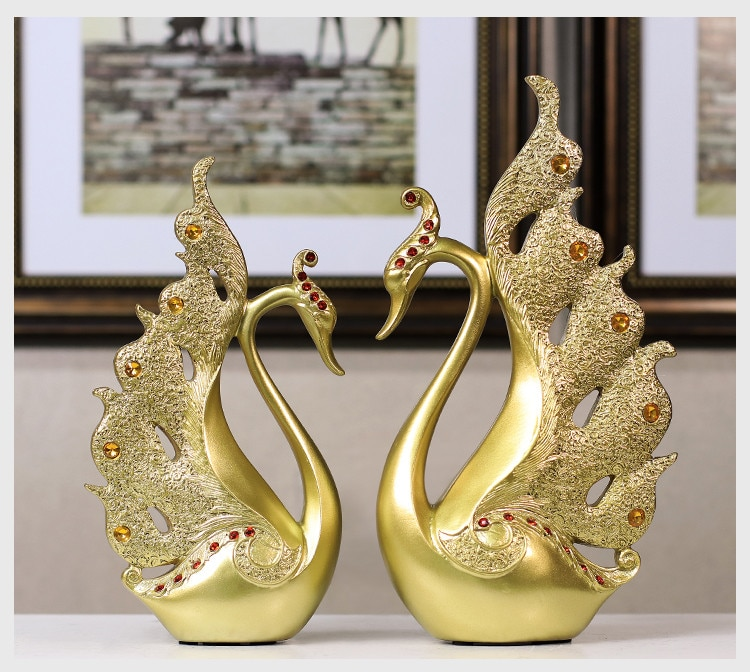 European luxury Creative resin ornaments in the shape of a swan home decoration crafts TV cabinet office statues accessories wed