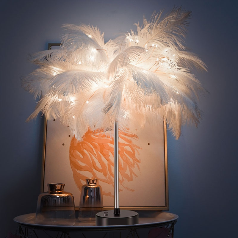 LED Fairy Table Lamp - Adjustable Feather Desk Light Warm White Table Lamp Night Light for Home Decor