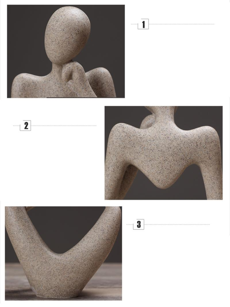 Abstract Character Statue Home Decoration Accessories Creative Home Ornament Drawing Room Office Sandstone Statue Decor figurine