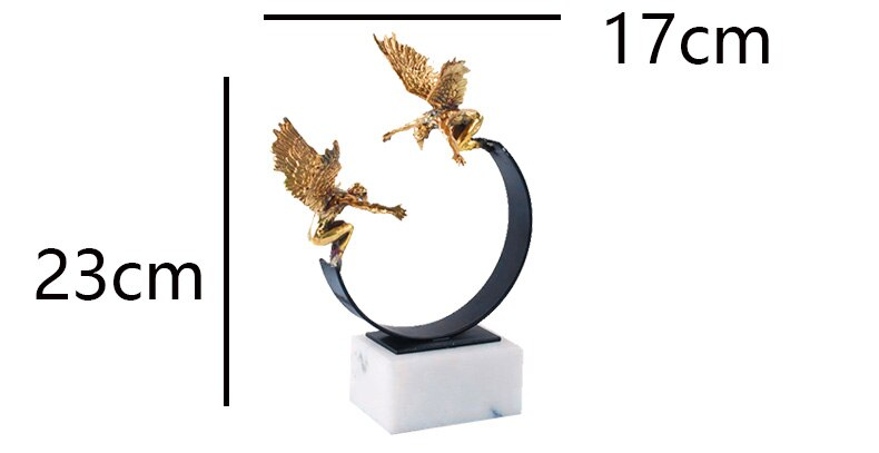 Two Gold Angels Stand On A Semicircular Metal Balance Bracket Ornaments Modern Home Decor Marble Craft Ornaments Statues
