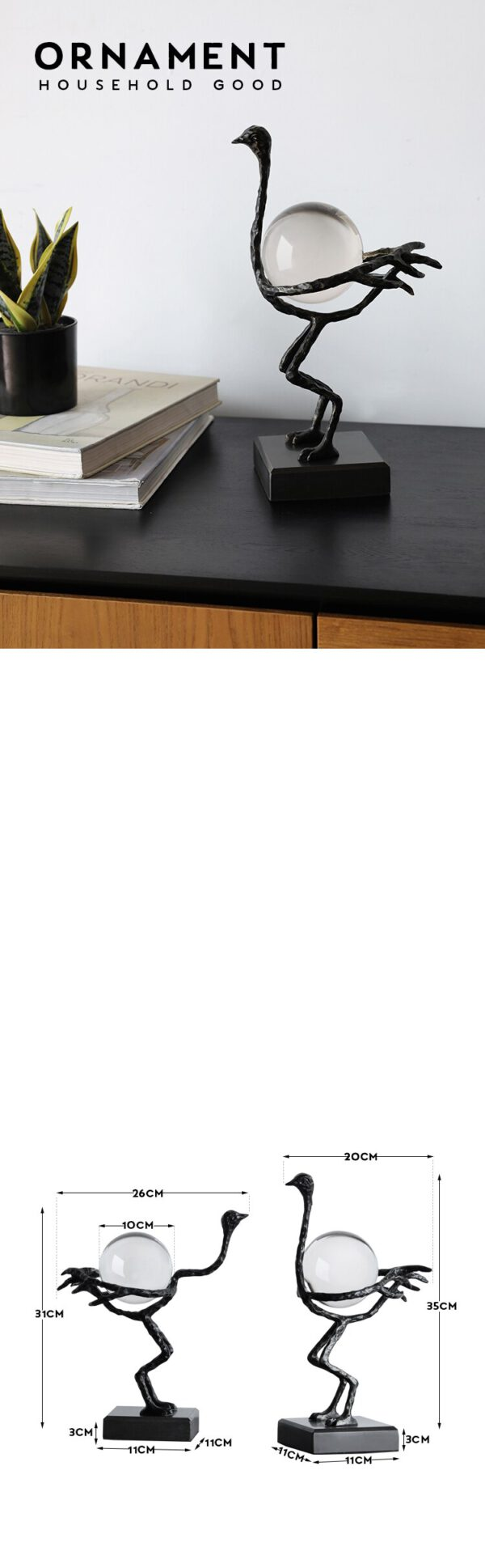 اكسسوار بطة كرة الكريستال السوداء اكسسوارات منزلية