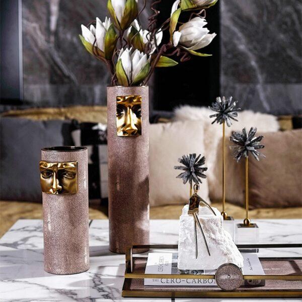 مزهرية قناع حضارة المايا النحاسية اكسسوارات منزلية