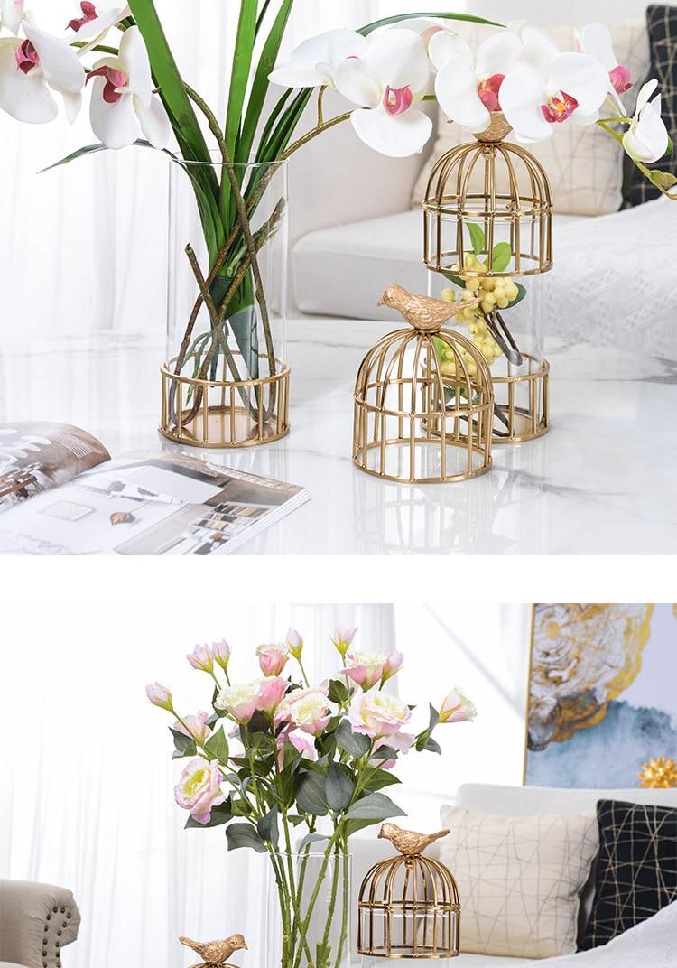 Luxtry Gold Metal Bird Cage Shape Vase Decoration Home Living Room Dinner Table Office Flower Arrangement Glass Vase