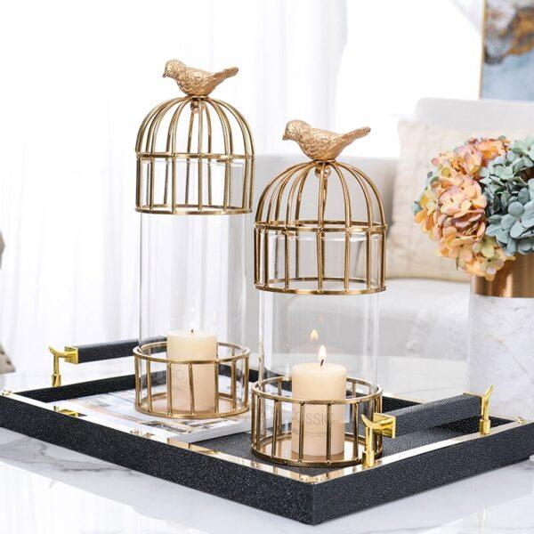 اكسسوار طاولة قفص الطير الذهبي اكسسوارات منزلية