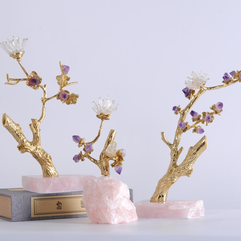 Home Interior Living Room Decor Metal Brass Tree Full Of Natural Crystal Stone Flowers Statues Ornament For Wedding Craft Gift