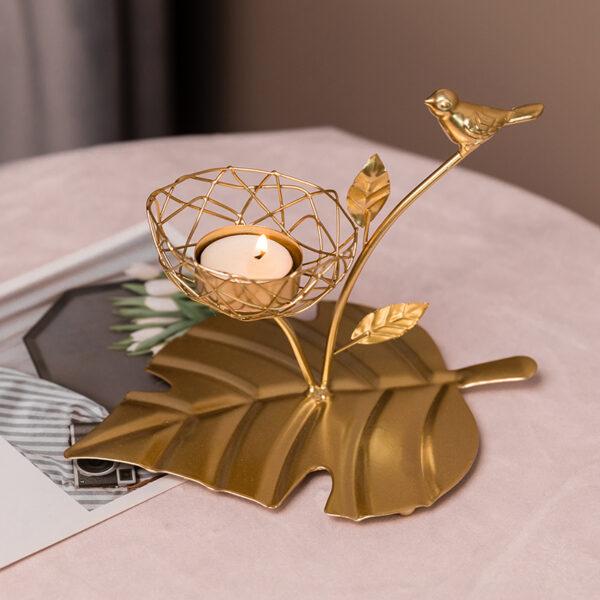 شمعدان العصافير الذهبي اكسسوارات منزلية