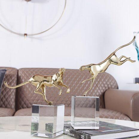 انتيكا الفهد كريستال النحاسي اكسسوارات منزلية