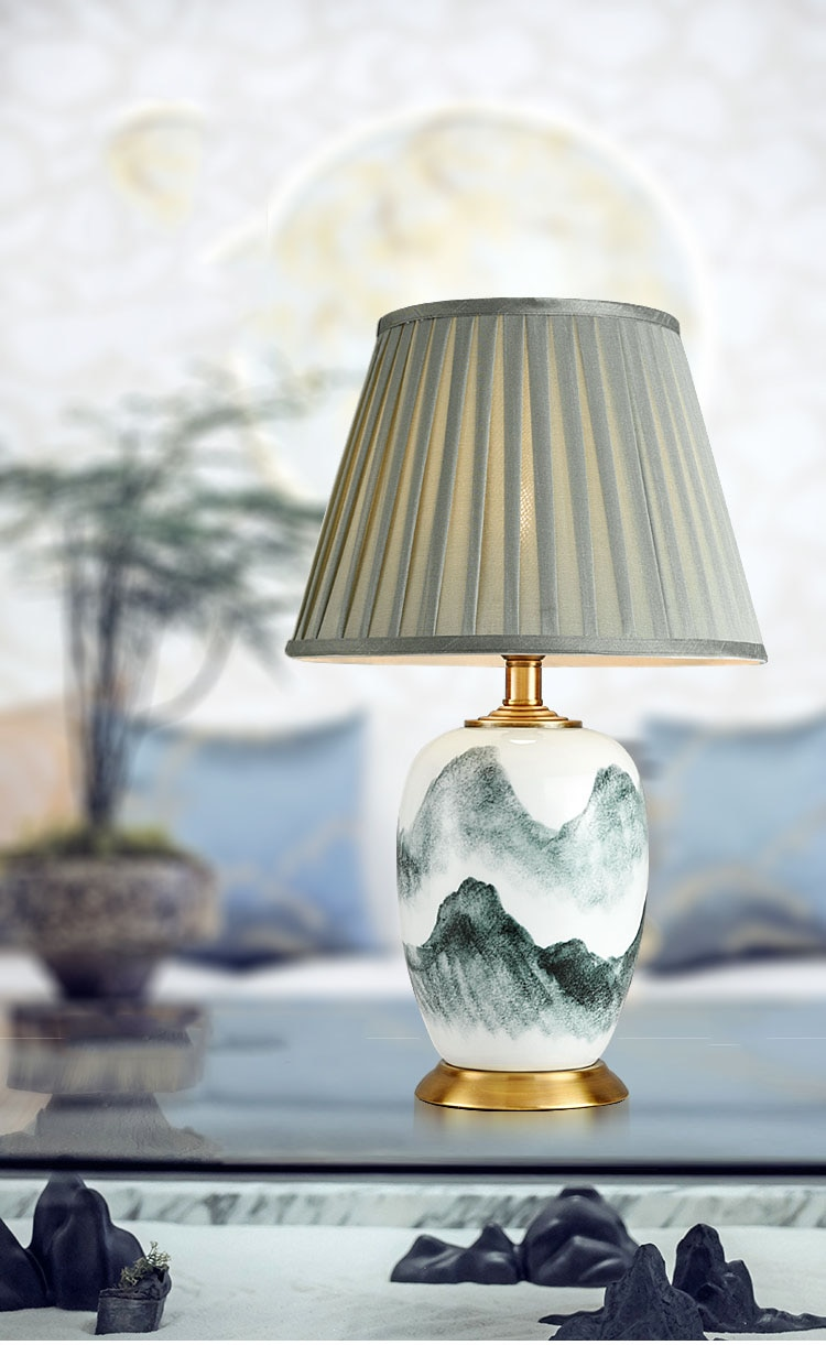 Luminaria Modern Table Lamp For Bedroom Ink Landscape Painting Ceramic Table Light Decor Home Living Room Bedside Golde Fixtures