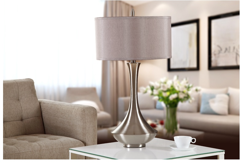 Creative Fashion Bronze Silver Iron Art Fabric Led E27 Table Lamp for Wedding Decor Bedroom Bedside Living Room tiffanylampe