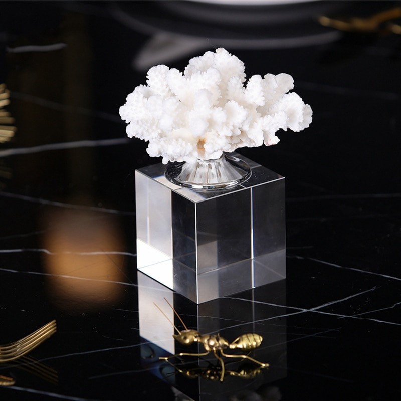 Luxurious Mediterranean Style Crystal White Coral Home Decor Accessories Figurine Living Room Ornament Objects Office Resin Gift