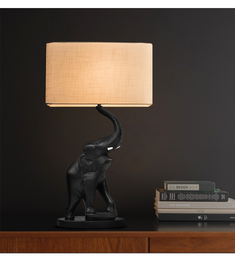 Black Elephant Statue Blow Nose Table Lamp Abajurs Resin Living Room Home Hotel Decor Lamps Flax Fabric Bedroom Lamp Luminaire