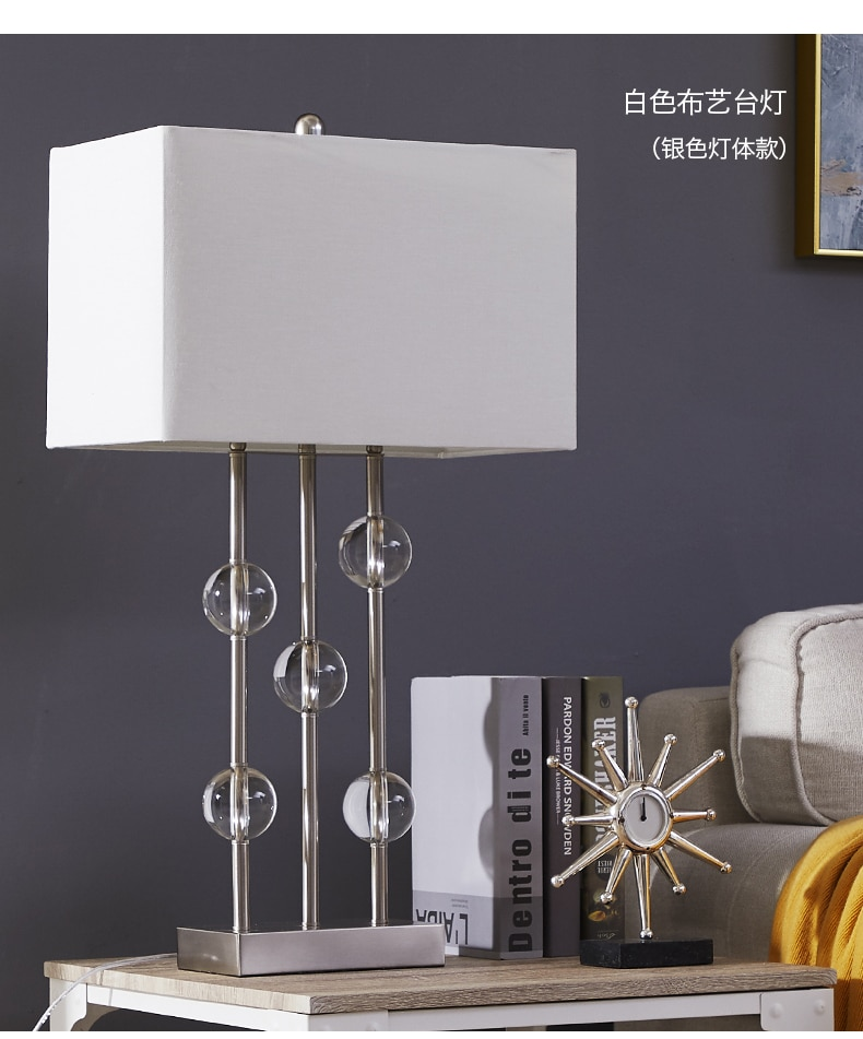 Creative Metal Pillars Combined With Crystal Balls Table Lamp For Living Room Bedroom Bedside Decorative Art Lighting Lamp