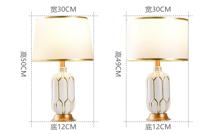 Modern White Ceramic Blank Space Ceramic Table Lamps Fashion Bedroom Bedside Lamp E27 Reading Metal Desk Lights lampe de chevet