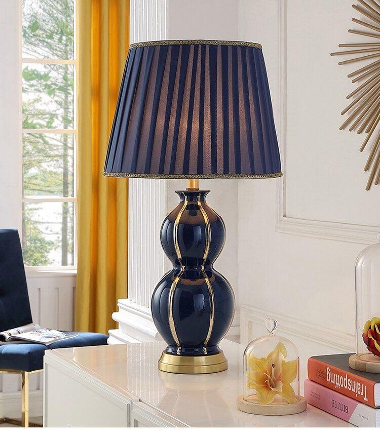 Golden Lines Depicting Shape Of The Gourd Table Lamp For Living Room Blue Ceramic Lamp Luxury Bedroom Bedside Lamp Decor Lamps