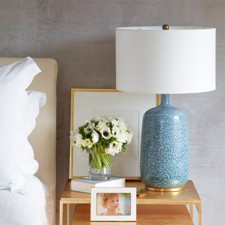Modern Blue Ceramic Table Lamp Villa Golden Dining Table Decoration Table Lamp Nordic Bedroom Bedside LED Light lampara de mesa
