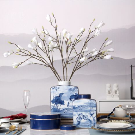 مزهرية بورسلين ورق الطبيعة الازرق اكسسوارات منزلية