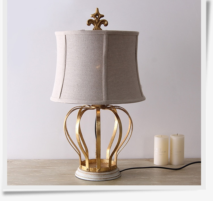 Classical Gold Crown Shape Metal Table Lamp Living Room E27 Reading Book Bedroom Bedside Table Lights Linen Fabric Home Lighting