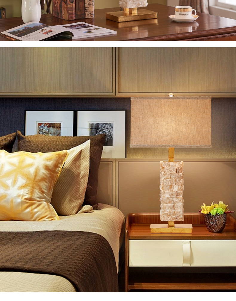 Modern Table Lamps for Bedroom Stacked White Marble Desk Light Beside Lamp for Living Room Indoor Lighting Fixture Home Decor