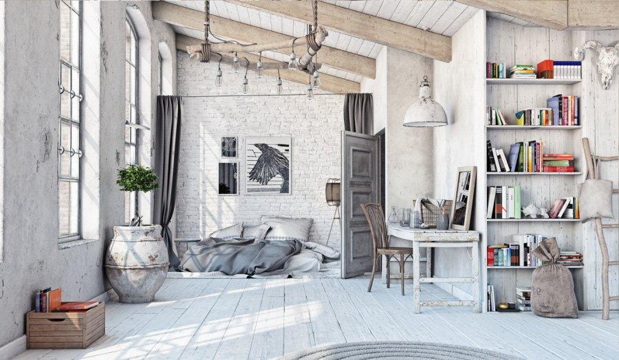 رث أنيق في التصميم الداخلي – ميزات على غرار تصميم منزل ريفي أو شقة