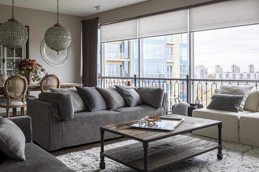 النمط الأمريكي في داخل غرفة المعيشة والمطبخ – ميزات تصميم الغرفة
