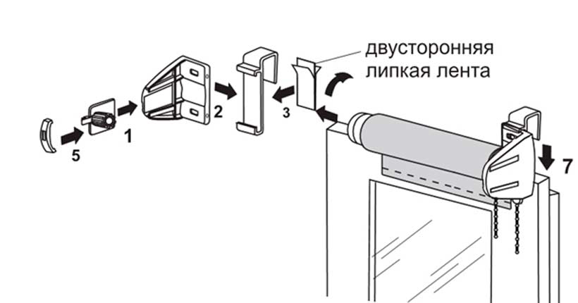 تركيب الستائر على شريط لاصق