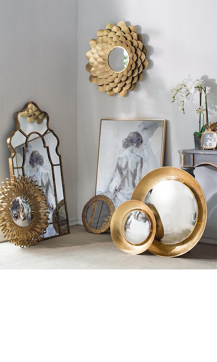 European Wrought Iron Golden Flower Mirror Wall Hanging Living Room Porch Ornament Pendant Decorative Mirror
